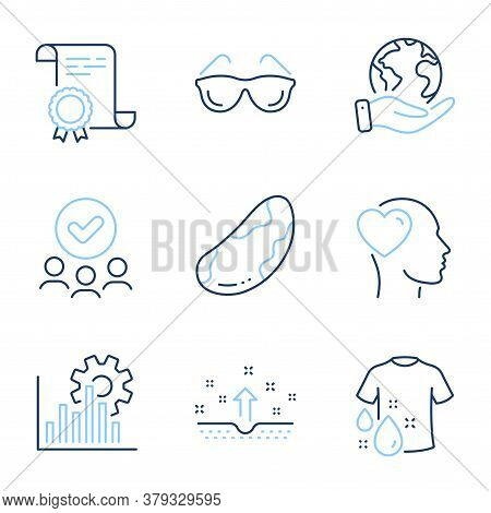 Brazil Nut, Clean Skin And Seo Graph Line Icons Set. Diploma Certificate, Save Planet, Group Of Peop