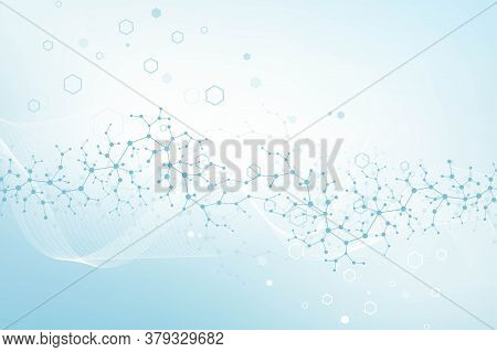 Molecular Structure Background. Science Template Wallpaper Or Banner With A Dna Molecules. Asbtract