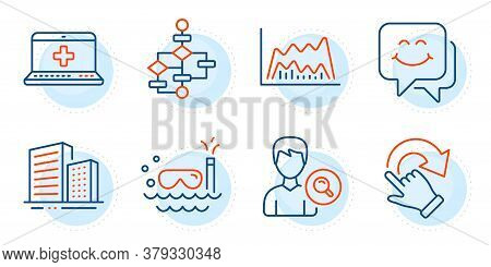 Block Diagram, Search People And Medical Help Signs. Buildings, Smile Face And Trade Chart Line Icon