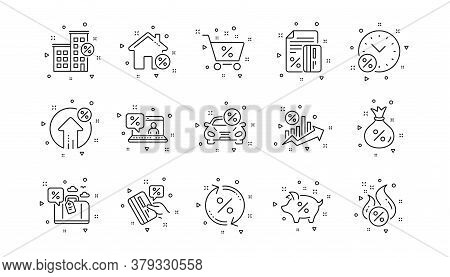 Investment, Interest Rate And Percentage Diagram. Loan Line Icons. Car Leasing Linear Icon Set. Geom