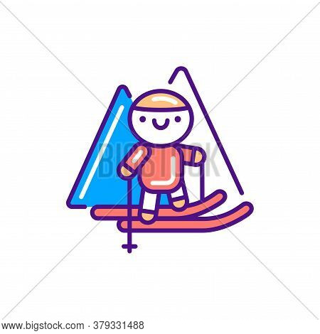 Ski Tourism Line Color Icon. Cute Character Skiing Kawaii Pictogram. Sign For Web Page, Mobile App,