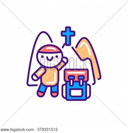 Pilgrimage Line Color Icon. Cute Character With Backpack Kawaii Pictogram. Sign For Web Page, Mobile