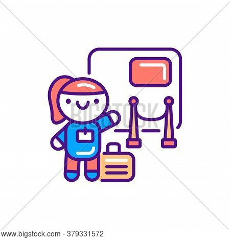 Congress And Exhibition Tourism Line Color Icon. Cute Girl In Art Gallery Kawaii Pictogram. Sign For