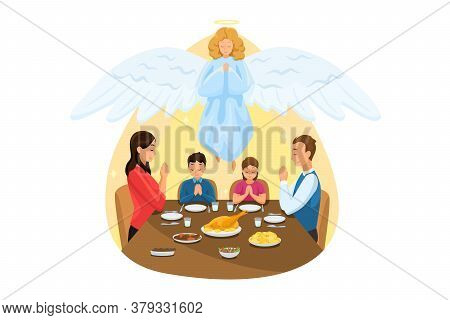 Christianity, Religion, Meal, Protection, Prayer, Worship Concept. Angel Biblical Religious Characte
