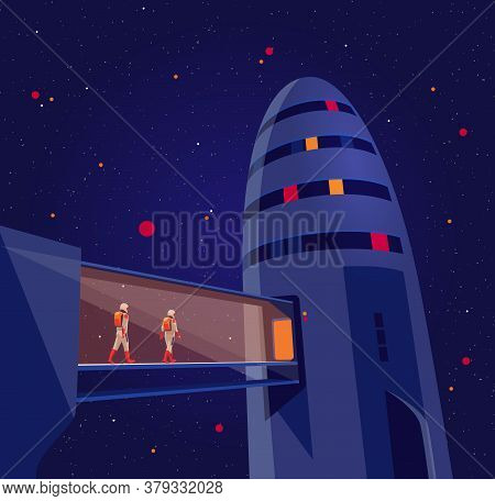 Astronauts Passengers Crew Entering Boarding Space Starship Rocket Vehicle On Launchpad Shuttle Depa