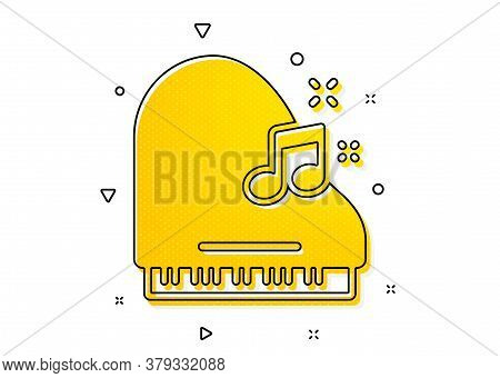Musical Instrument Sign. Piano Icon. Music Note Symbol. Yellow Circles Pattern. Classic Piano Icon.
