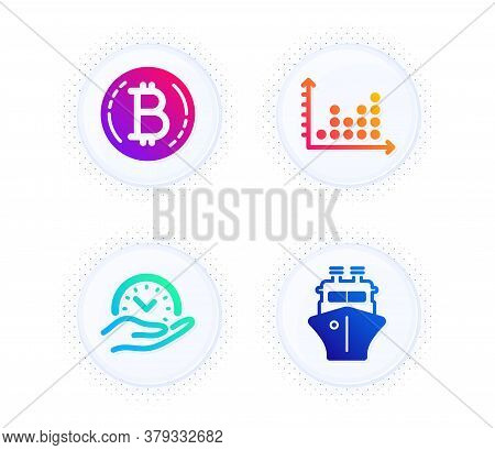 Dot Plot, Safe Time And Bitcoin Icons Simple Set. Button With Halftone Dots. Ship Sign. Presentation