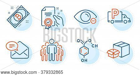 Bitcoin, Packing Boxes And Truck Parking Signs. Chemical Formula, Myopia And Certificate Line Icons