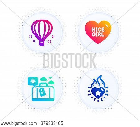 Nice Girl, Travel Luggage And Air Balloon Icons Simple Set. Button With Halftone Dots. Heart Flame S