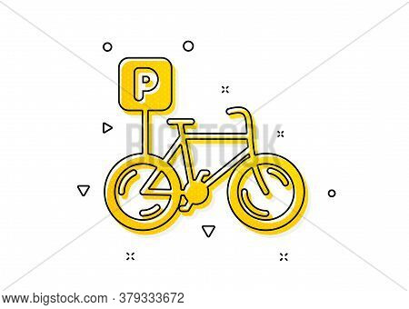 Bike Park Sign. Bicycle Parking Icon. Public Transport Place Symbol. Yellow Circles Pattern. Classic