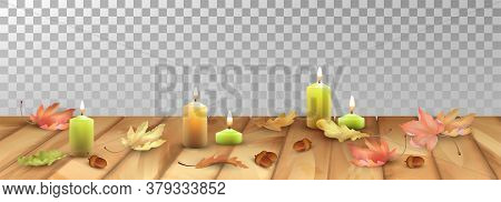 Autumn Abstract Background. Lit Candles And Fallen Leaves On The Wooden Floor