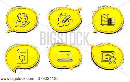 Keywords Sign. Diploma Certificate, Save Planet Chat Bubbles. Thumb Down, Laptop And Buildings Line