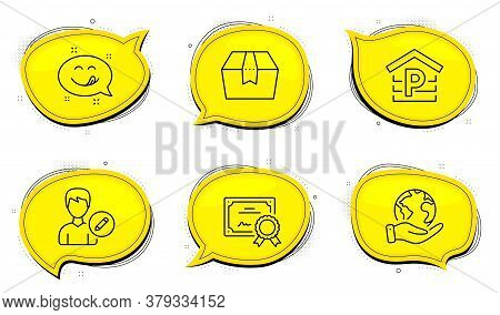 Package Box Sign. Diploma Certificate, Save Planet Chat Bubbles. Yummy Smile, Edit Person And Parkin