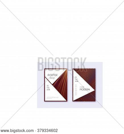 Stylish Cover Design Template Set. Orange Abstract Lines On Wine Red Background. Fancy Cover Design.