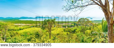 Panorama From Green Mountain To Ko Lanta Thailand Sea Landscape With Many Islands