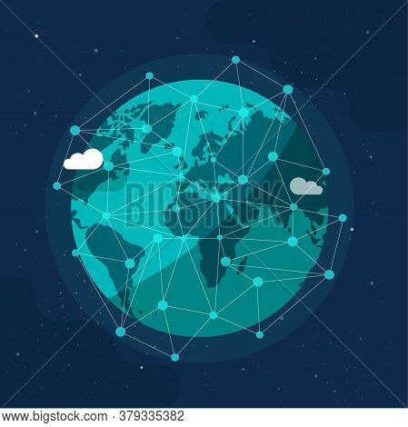 Global Communication Future Technology Business Around The Planet World From Space Concept Or Earth