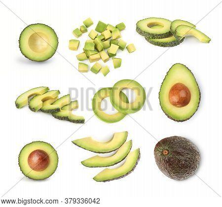 Avocado Set On A White Background. Sliced Avocado. Avocado Cubes
