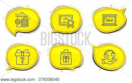 Holidays Shopping Sign. Diploma Certificate, Save Planet Chat Bubbles. Sale, Shopping Bags And Secre