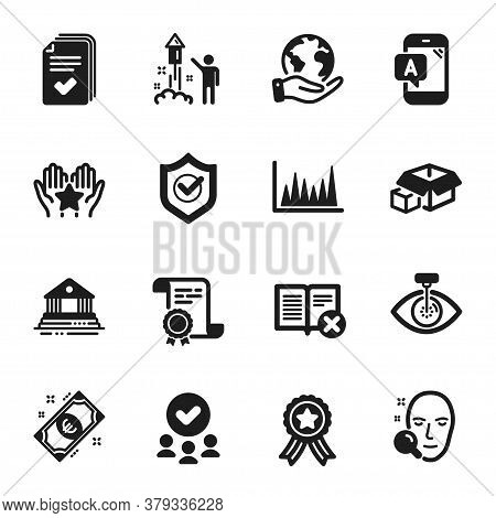 Set Of Business Icons, Such As Packing Boxes, Eye Laser. Certificate, Approved Group, Save Planet. R