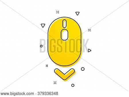 Scrolling Screen Sign. Scroll Down Mouse Icon. Swipe Page. Yellow Circles Pattern. Classic Scroll Do