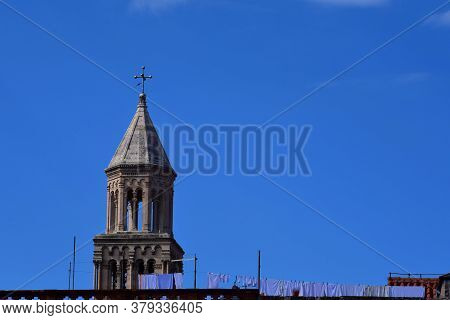 Close Up On Cathedral Of Saint Domnius, Dujam, Duje, Bell Tower In Old Town, Split, Croatia,