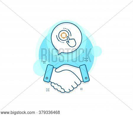 Search Engine Optimization Sign. Handshake Deal Complex Icon. Seo Target Line Icon. Click Aim Symbol