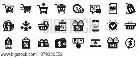 Gift, Present And Sale Offer Signs. Shopping Wallet Icons. Shopping Cart, Delivery Gift And Tags Sym