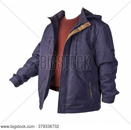Dark Blue Jacket And Burgundy Sweater Isolated On White Background.bologna Jacket And Wool Sweater