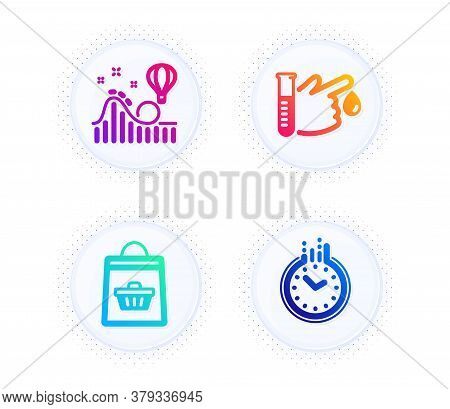 Blood Donation, Online Buying And Roller Coaster Icons Simple Set. Button With Halftone Dots. Time S