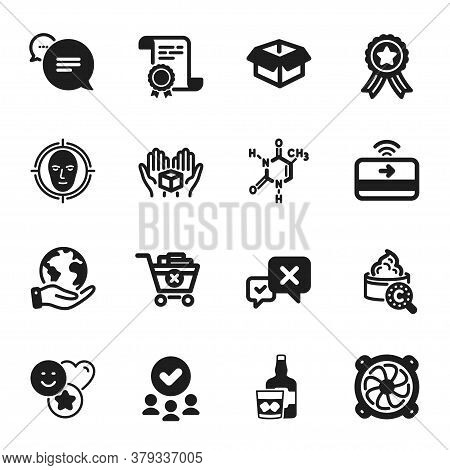 Set Of Business Icons, Such As Hold Box, Reject. Certificate, Approved Group, Save Planet. Text Mess