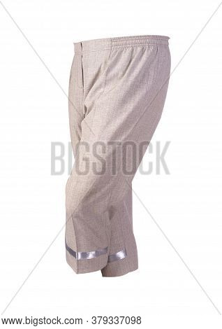 Womens Light Brown Pants Breeches Isolated On White Background.womens Casual Wear