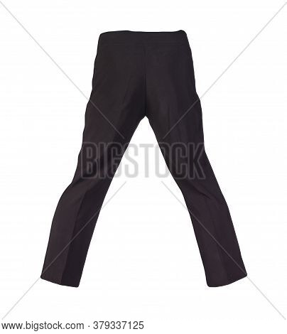 Women Black Trousers Isolated On White Background.womens Casual Wear