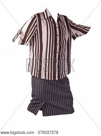 Womens Long Black White Striped Skirt And Brown Beige Striped Blouse Isolated On White Background.co