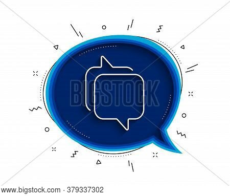 Messenger Line Icon. Chat Bubble With Shadow. Speech Bubble Sign. Chat Message Symbol. Thin Line Mes