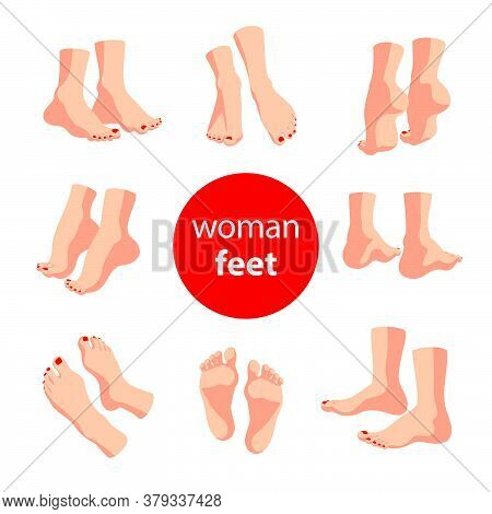 Collection Of Bare Human Man And Woman Feet Pairs Arranged In Different Poses Isolated On White Back