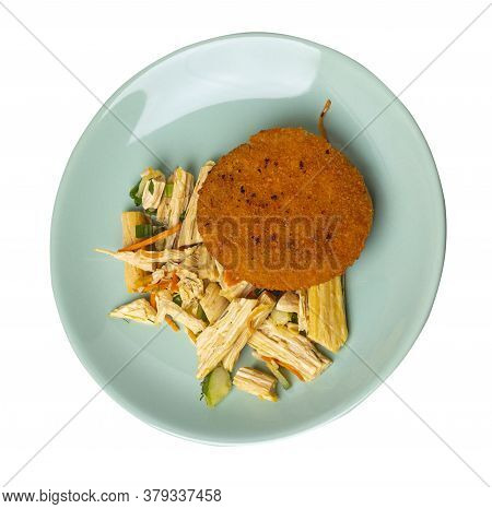 Fishcake With Soy Asparagus And Carrots, Cucumbers And Dilll. Fish Cutlet On Light Green Plate Isola