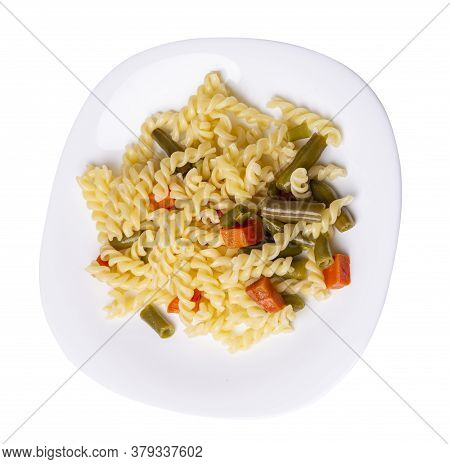 Pasta With Green Beans With Garlicand Carrots On White Plate Isolated On A White Background. Mediter