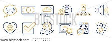 Set Of Business Icons, Such As Refresh Bitcoin, Heart. Certificate, Save Planet. Cash Money, Washing