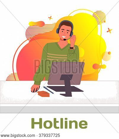 Character Male Call Center Hotline. Online Support Worker, Telephone Service Operator. Dispatcher, W