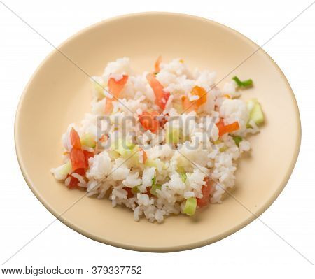 Rice With Vegetables On A Plate Isolated On White Background . Rice With Tomatoes, Cucumbers And Oni