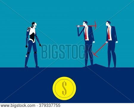 Robot Finding Gold Money With Digger. Business Digging Concept. Currency