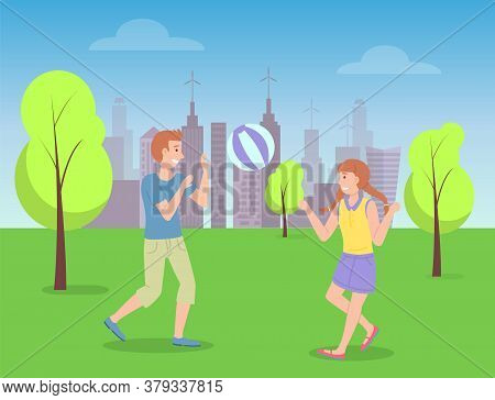 Children Spending Time In Summer Park Playing With Ball, Kids Have Fun, Recreation, Girl With Pigtai