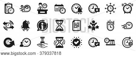 Set Of Calendar, Time Management Timer And Delivery Service Icons. Time Icons. Checklist, Stopwatch