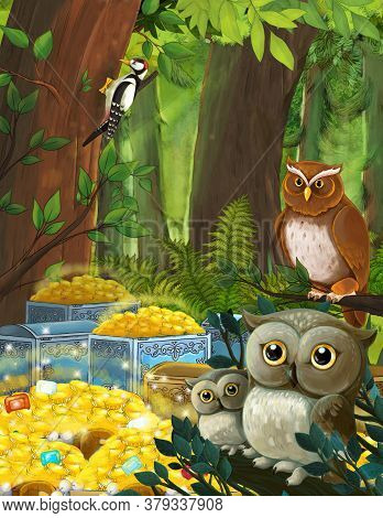 Cartoon Summer Scene With Deep Forest And Treasure With Sitting Owl - Nobody On Scene - Illustration
