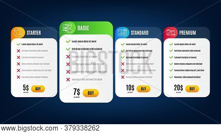 Face Id, Time Management And Website Statistics Line Icons Set. Pricing Table, Subscription Plan. Pr