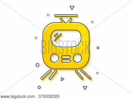 Public Transportation Sign. Train Transport Icon. Tram Symbol. Yellow Circles Pattern. Classic Train