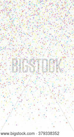 Festive Cute Confetti. Celebration Stars. Colorful Stars Small On White Background. Ideal Festive Ov
