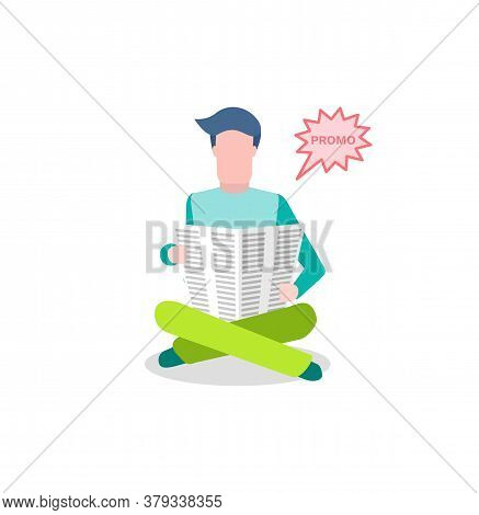 Newspaper Advertisement, Man Reading Information Vector. Marketing On Print Mass Media, Broadcasting
