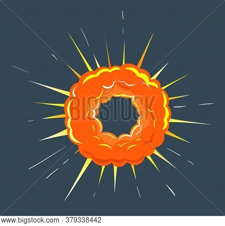 Orange Round Burst With Cloud Of Dust. Big Bang In Motion With Fire And Gleam Of Energy. Isolated As