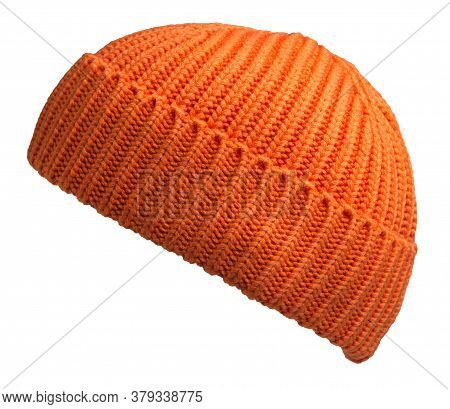 Docker Knitted Orange Hat Isolated On White Background. Fashionable Rapper Hat. Hat Fisherman